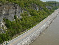 Aerial photo of the Meeting of the Great Rivers National Scenic Byway nestled between the Mississippi River at its majestic ivory bluffs.   © Byway Aerial View, USACE